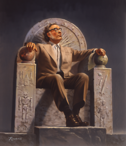 Asimov enthroned with symbols of his life's work.  From Wikimedia Commons.