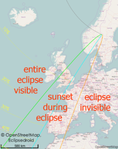 Visibility of the solar eclipse in europe. Source: Wolfgang StricklingWolfgang Strickling, Wikimedia.
